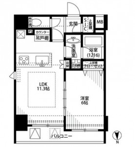1R・25.2m2 家賃:118,000円  共益費・管理費:8,000円 プレール・ドゥーク秋葉原3